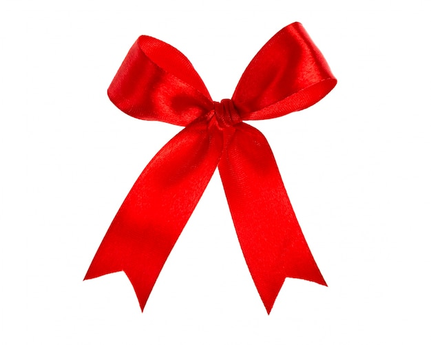 Shiny red ribbon on white background with copy space Free Photo