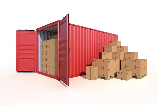 Ship cargo container side view with cardboard boxes Premium Photo