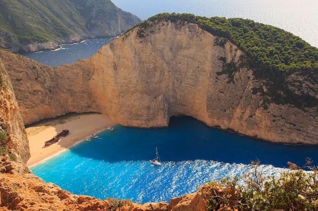 Shipwreck. navagio beach, zakynthos island. greece island zakynthos holidays. navagio beach view point Premium Photo