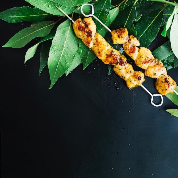 Shish kebab on bay leaves Free Photo