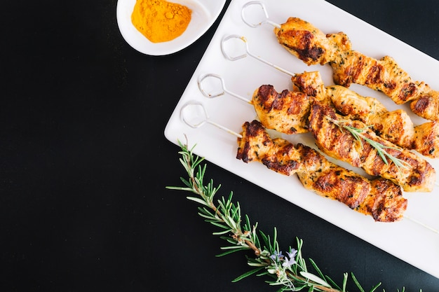 Shish kebab and rosemary Free Photo
