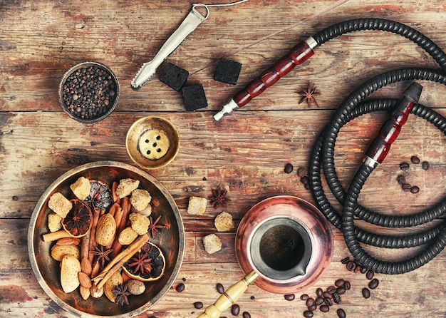 Shisha with coffee and spices Premium Photo