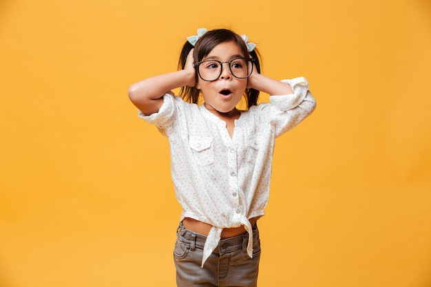 Shocked little girl child Free Photo