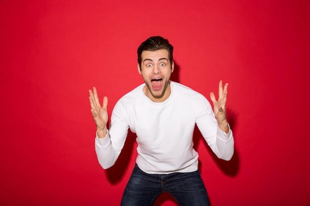 Shocked screaming man in sweater looking Free Photo