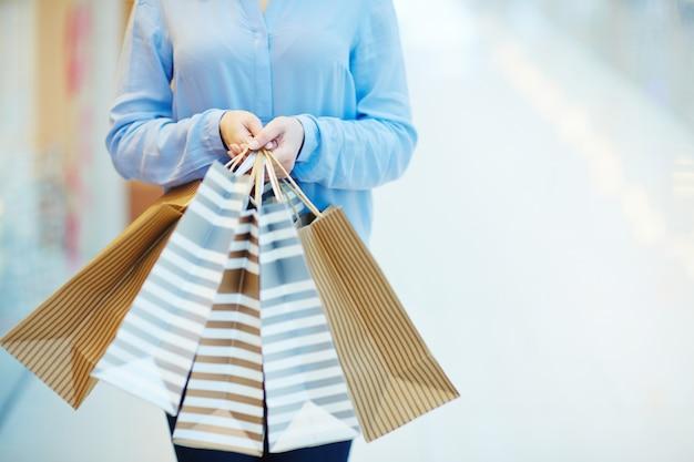 Shopaholism with bags Free Photo