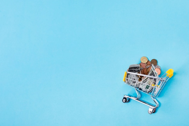 Shopping cart filled with coins on copy space background Free Photo