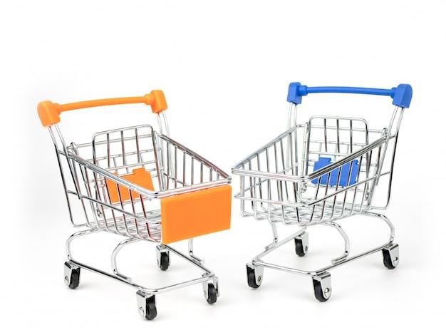 Shopping cart, push cart isolated on white background Premium Photo