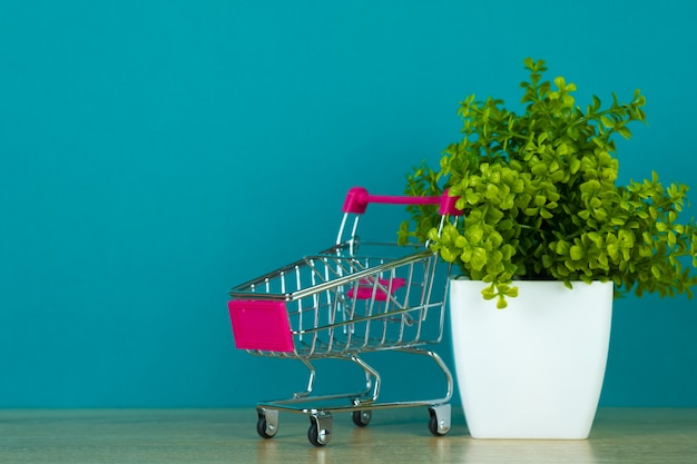 Shopping cart or supermarket trolley with little decoration tree Premium Photo