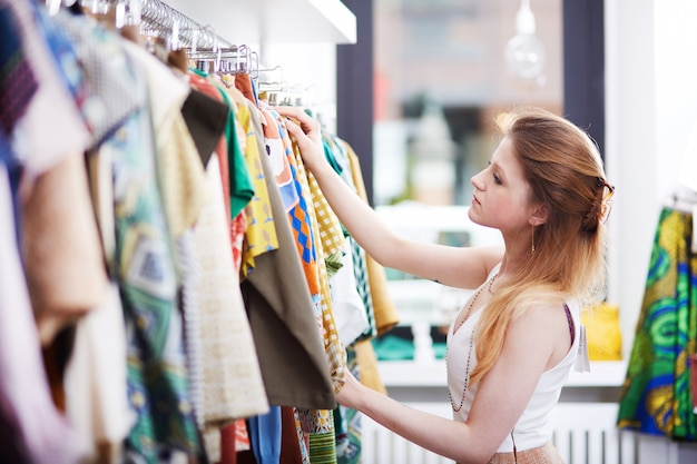 Shopping at fashion store Premium Photo