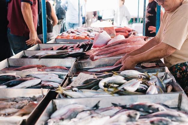 Shopping at fish market Free Photo