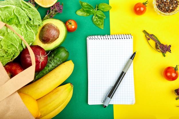 Shopping list, recipe book, diet plan. grocering concept. Premium Photo