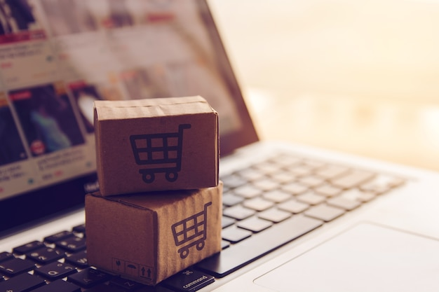 Shopping online concept - shopping service on the online web. with payment by credit card Premium Photo