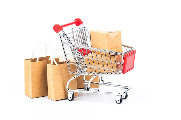Shopping online at home concept.online shopping is a form of electronic commerce Premium Photo