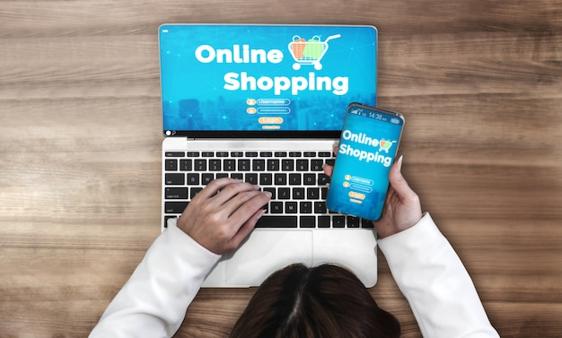 Shopping online and internet money technology Premium Photo