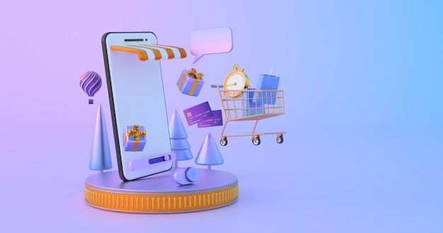 Shopping online on website or mobile application. Premium Photo
