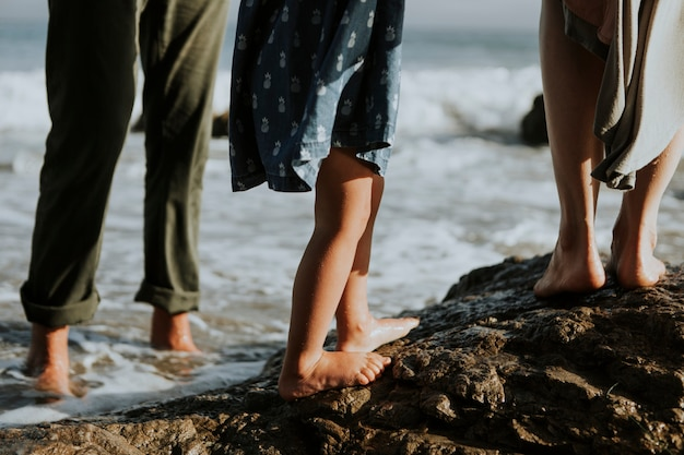A shot of people feet walking on rocks at the beach Free Photo