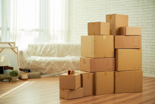 Sparato dell'interno della stanza con le scatole del pacchetto che stanno nel mezzo e il sofà coperto di film Foto Gratuite