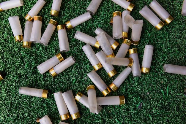 Shotgun shells on the grass Premium Photo
