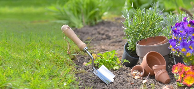 Shovel planted in the soil of a garden next to flowerpots Premium Photo