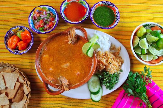 Shrimp seafood soup mexican chili sauces nachos Premium Photo