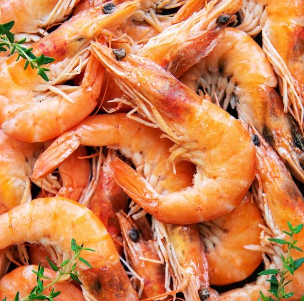 Shrimps as a food background Premium Photo