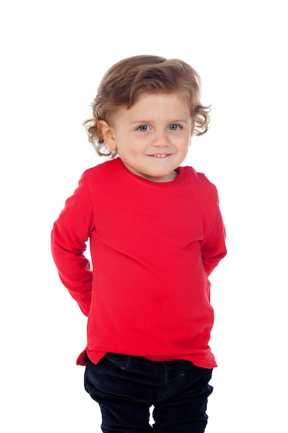 Shy baby with two years wearing red t-shirt Premium Photo