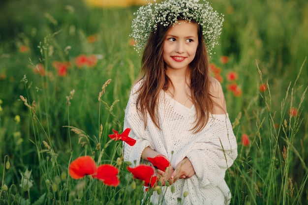 shy little girl in the meadow photo free download