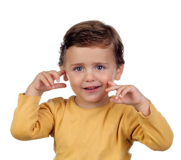 Shy small child two years old Premium Photo