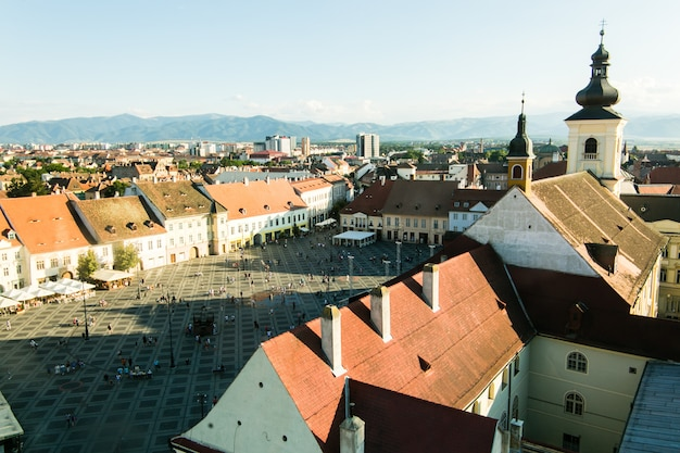 Sibiu - romania, july 18, 2017: piata mare large square in sibiu, romania in summer time Premium Photo