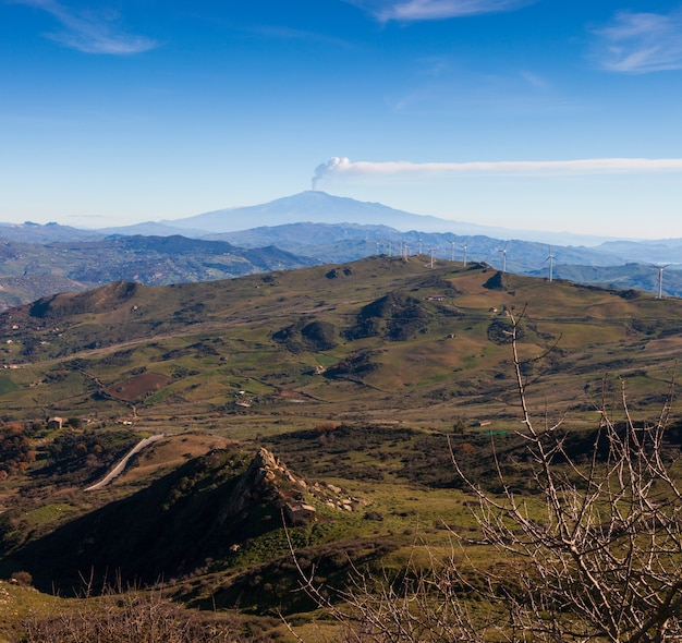 Sicilian countryside with etna volcano in the background Premium Photo