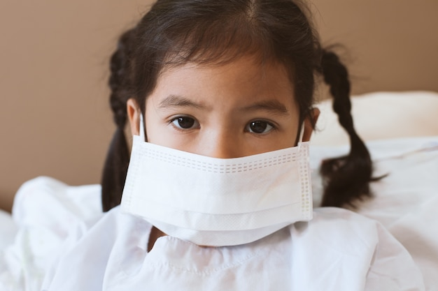 While Sick Asian In Little Wear Girl Child Live Protection Mask
