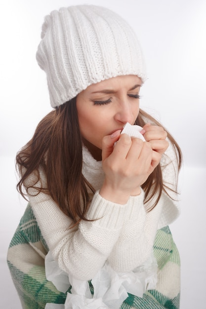 Sick teenager coughing Free Photo