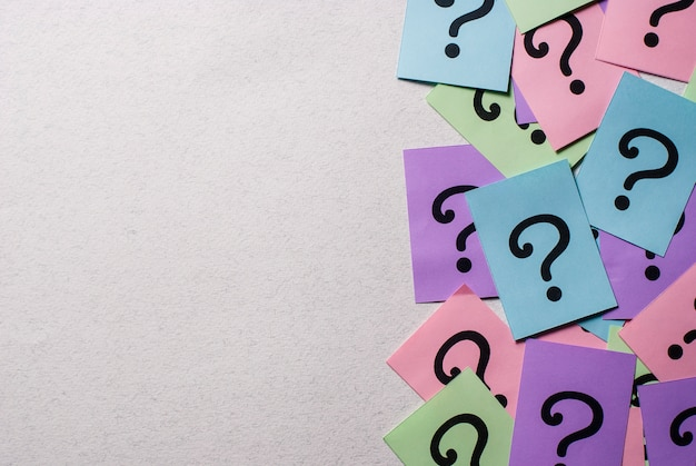 Side border of colorful question marks Premium Photo