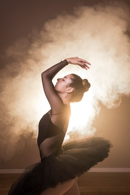 Side view ballet posture in smoke Free Photo