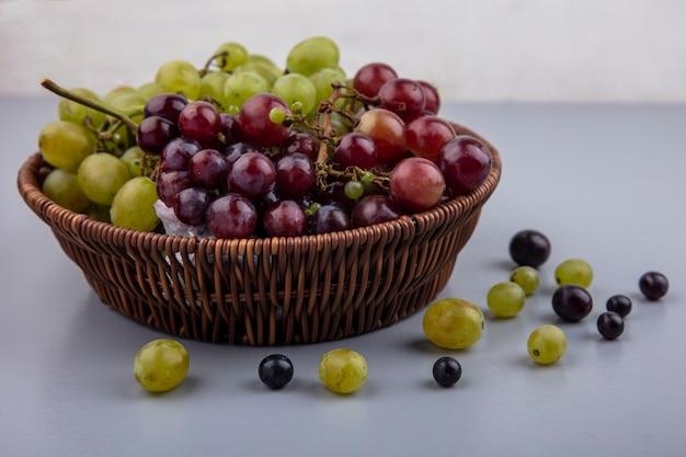 Vista laterale del cesto di uva e acini d'uva su superficie grigia e sfondo bianco Foto Gratuite