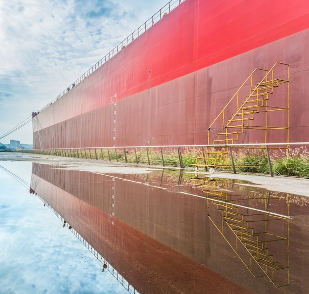 Side view of cargo container ship Free Photo
