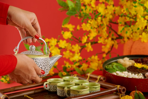 Side view of female hands with red nail polish serving table for tet Free Photo