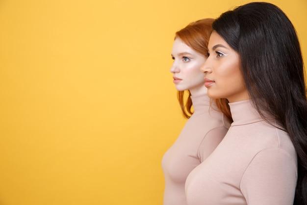 集中した若い2人の女性の側面図画像 無料写真