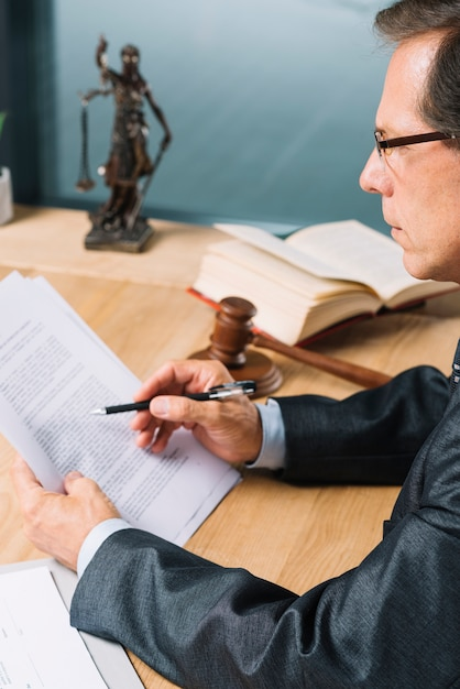 Side view of mature male lawyer reading document in the courtroom Free Photo