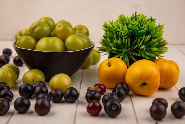 Вид сбоку свежей зеленой алычи на миске со сладкими персиками и темно-фиолетовым терном, изолированным на сером деревянном фоне Бесплатные Фотографии