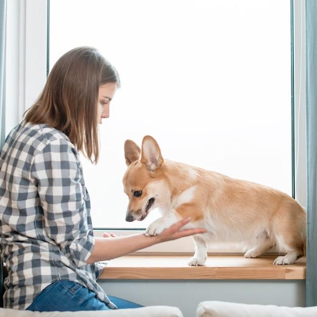 ウィンドウの前で女性と犬の側面図 無料写真