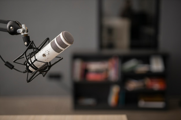 Side view of a radio microphone with copy space Free Photo