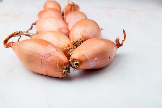 Side view of shallots on white background with copy space Free Photo