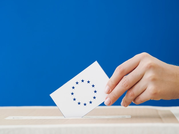 Side view woman being involved in the european election Free Photo