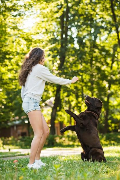 Devojka i pas u prirodi