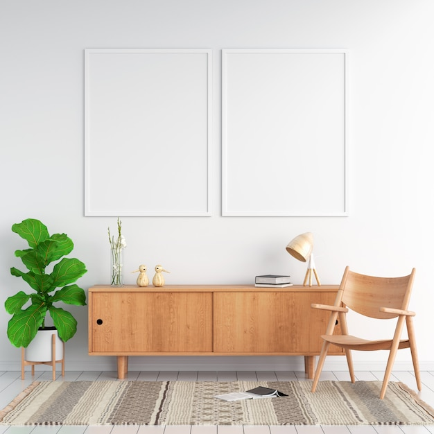Sideboard and two blank photo frame for mockup Premium Photo