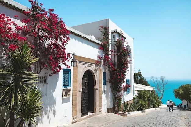 Сиди-бу-саид, тунис. вид на улицу и море Premium Фотографии