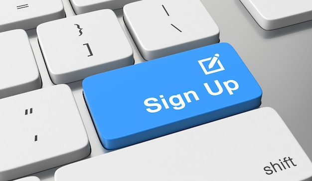 Sign up text on keyboard button Premium Photo