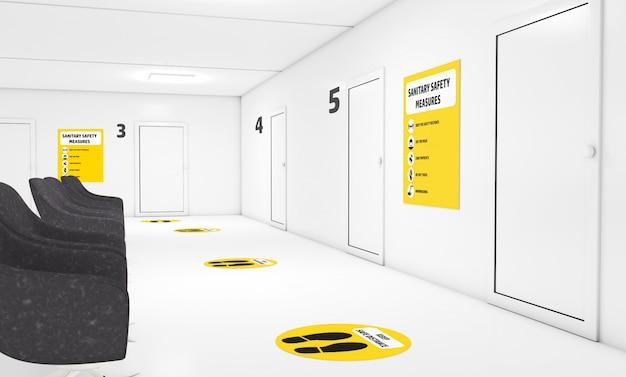 Вывеска санитарных мер безопасности в кабинете врача Premium Фотографии