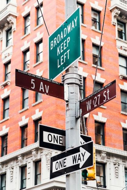 Signposts on street pillar Free Photo